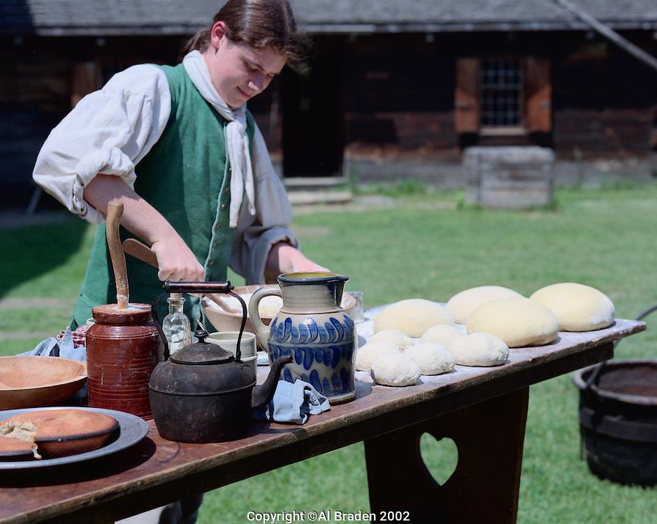 Demonstration of bread baking at Fort at No. 4, Charlestown, NH