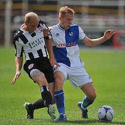 Bath City's Dave Pratt battles for the ball with Bristol Rovers' Danny Greenslade  - Photo mandatory by-line: Alex James/JMP - Tel: Mobile: 07966 386802 19/07/2014 - SPORT - FOOTBALL - Twerton Park - Bath  -  Bath City V Bristol Rovers - preseason