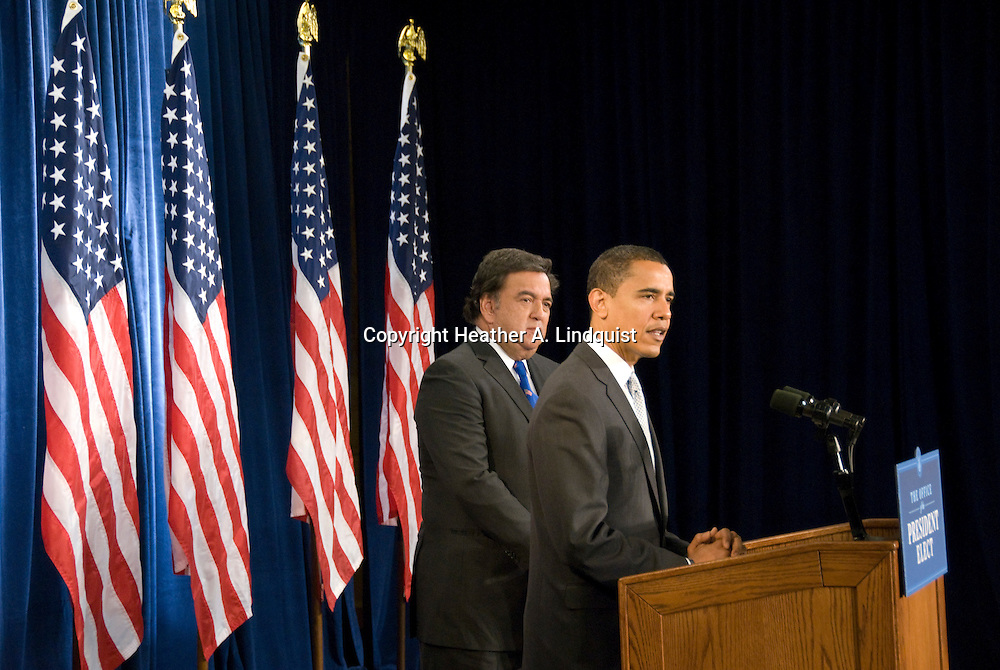 December 3rd 2008 - Chicago, IL - Press Conference with newly elected President Barack Obama at the Hilton Hotel in downtown Chicago...Today Obama announced New Mexico Gov. Bill Richardson as commerce secretary...Photo Credit: Heather A. Lindquist/Sipa..