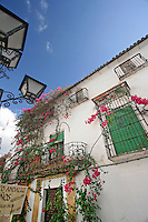 Looking up at an old traditional Spanish building, Marbella, Spain