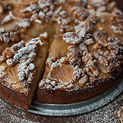 A Pear Walnut Ciambellone. One of my favorite cake combinations. Sweet and spicy Bosc pears are my preference for baking. Toasted walnuts add an element of warmth to the cake. This was created from watching a baker in Italy put 'a little bit of this' and 'a little bit of that' so I still have to get this one in writing.