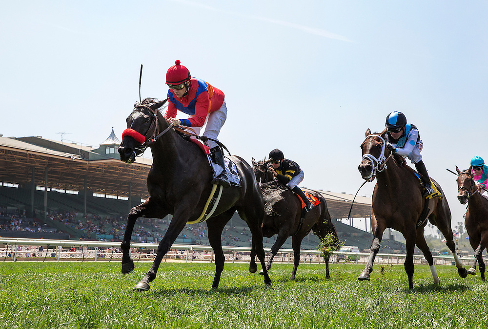 May 30 2015: Spanish Queen with Brice Blanc up defeats Feathered and Tyler Baze to win the American Oaks at Santa Anita Park in Arcadia CA. Alex Evers/ESW/CSM