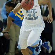 North Carolina Guard Tierra Ruffin-Pratt (44) leads the fast break in the first half of a 2013 Round Two Women's NCAA tournament game against No. 6 Delaware Tuesday, March 26, 2013, at the Bob Carpenter Center in Newark Delaware.