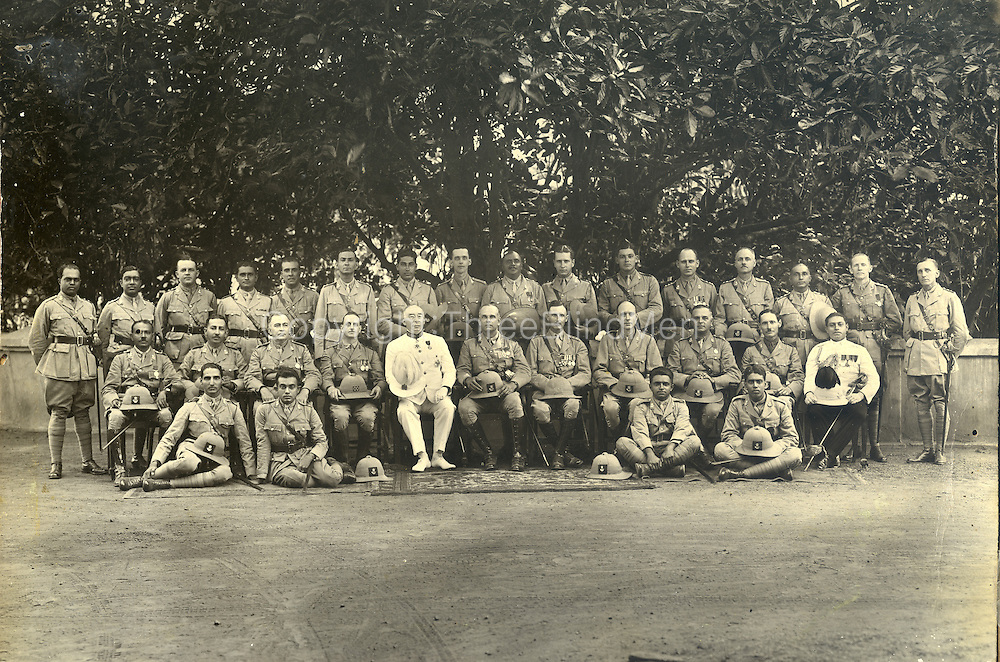 As we see picture.. Guy Sansoni next to the Governor, back row, to the right of Guy is Mervyn Ondaatge and Noel Gratiaen. Waldo Sansoni seated below and to the left of Noel. <br /> Ern Mack and Justin van Der Smagt. Ceylon Light Infantry<br /> Modder Collection