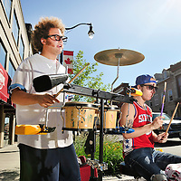 Street musicians Daniel Chalmers and Junstin Andre,Kingston, Ontario, Canada,