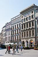 Building facades around Rynek Glowny in Krakow Poland
