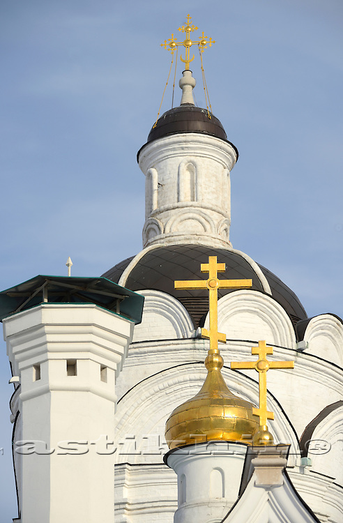 Orthodox Church's Cupola with Holy Crosses upon blue sky.