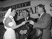 1959 Irish Hospital Sweepstakes Director presenting Free Air Tickets to Harry Bradshaw