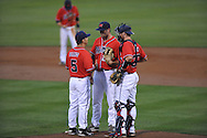 Ole Miss' Sam Smith (29) talks with coach Mike Bianco (5) and catcher Will Allen (30) vs. Murray State at Oxford-University Stadium in Oxford, Miss. on Wednesday, May 2, 2012.