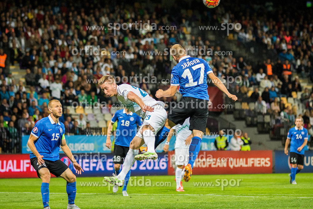 Enar Jaager of Estonia vs Robert Beric of Slovenia during the EURO 2016 Qualifier Group E match between Slovenia and Estonia at Ljudski vrt on September 8, 2015 in Maribor, Slovenia. Photo by Ziga Zupan / Sportida