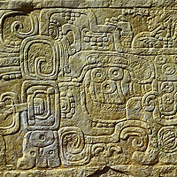 Mayan carvings on pyramid building. Palenque, Chiapas. Mexico.