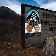Sign at the entrance of the Fogo national park on Fogo island, Cape Verde on Wednesday January 6, 2010..