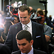 SHOT 3/20/12 1:20:30 PM - The Denver Broncos introduced free agent quarterback Peyton Manning at team headquarters in Englewood, Co. at a press conference on Tuesday Marc 20, 2012. Manning is coming off neck surgery and was released by the Indianapolis Colts. He signed a five year, $96 million contract with the Broncos..(Photo by Marc Piscotty / © 2012)