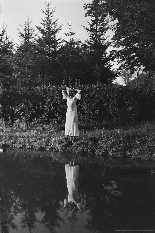 Gertraud Braun in White Summer Dress and Hat by the Pond/Lake, Austria, 1934
