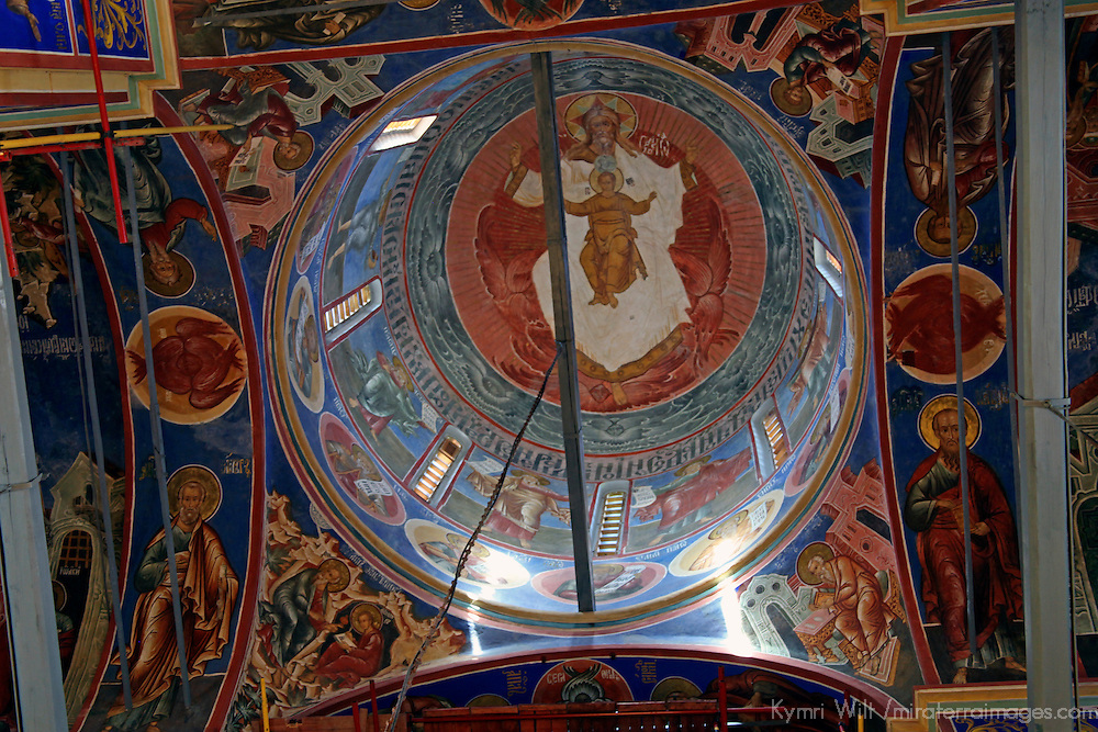 Europe, Russia, Suzdal. Cathedral of the Nativity Dome interior.