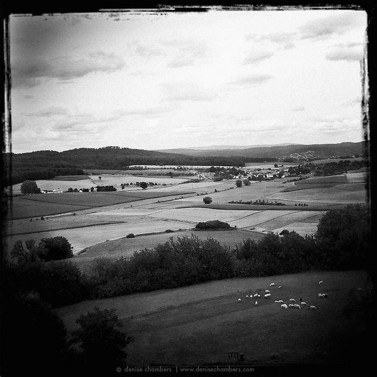 View of the hills, fields and farmlands surrounding Ronneburg