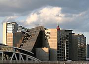 Late Afternoon photo of CNN Plaza, Atlanta, and Omni Hotel.