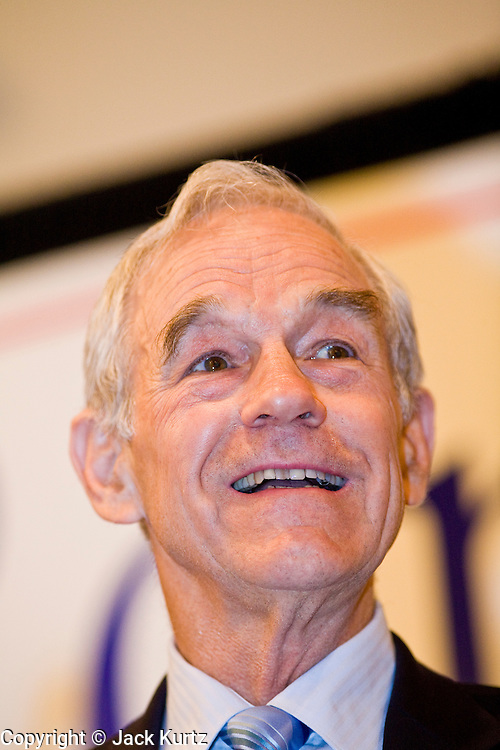 "May 22, 2008 - Phoenix, AZ: RON PAUL (R-TX) speaks in Phoenix Thursday. About 850 people crowded into the ballroom at the Pointe Hilton Squaw Peak Resort in Phoenix, AZ, to hear Republican presidential hopeful Ron Paul speak. Although Arizona Sen. John McCain is the ""presumptive"" Republican candidate for president, Texas Congressman Ron Paul is staying in the race and actively campaigning for the Presidency. Paul repeated often made commitments to withdraw US troops from Iraq and Afghanistan, eliminate the US income tax system and change drug laws. Photo by Jack Kurtz"