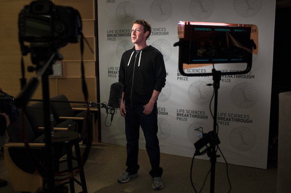 Mark Zuckerberg backstage at the Breakthrough Prize announcement.