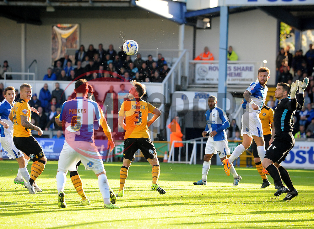 Matty Taylor of Bristol Rovers heads the ball across the Newport County goal - Mandatory byline: Neil Brookman/JMP - 07966 386802 - 24/10/2015 - FOOTBALL - Memorial Stadium - Bristol, England - Bristol Rovers v Newport County AFC - Sky Bet League Two