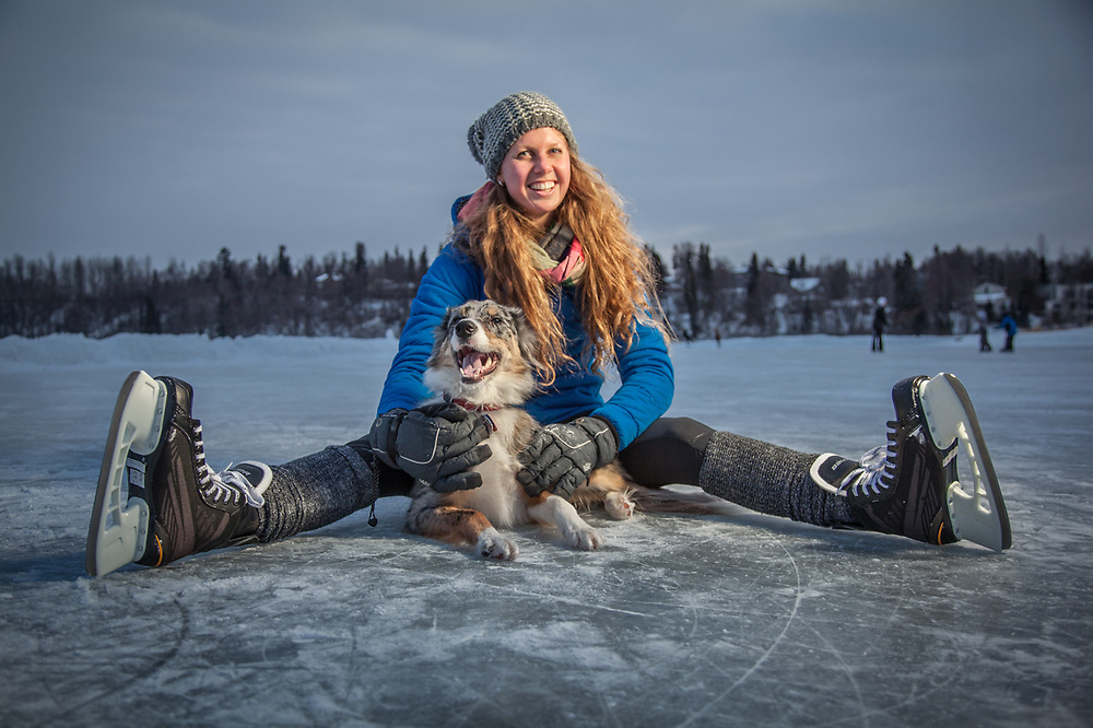 Holly Furman and Molly at Westchester Lagoon, Anchorage.