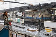 Kinshicho metro (JR) station under the snow, Tokyo, Japan / Station de metro (JR) Kinshicho sous la neige, Tokyo, Japon