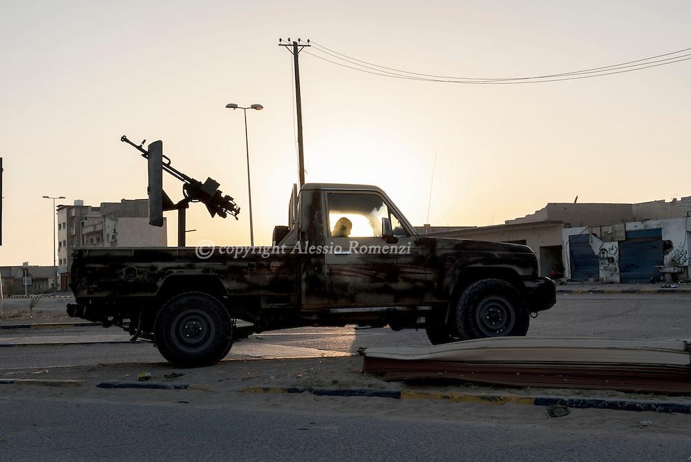 Libya: A Libya's Government of National Accord's (GNA) military car nearby Zafaran square in Sirte. Alessio Romenzi