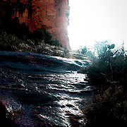 waterfall on red rocks