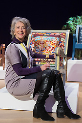 Bonhams, London, February 29th 2016. Actress Maureen Lipman with the chair she created during a photocall for &quot;Sitting Pretty&quot;, featuring unique, hand painted and upholstered chairs made by 30 celebrities and artists, at Bonhams ahead of their auction in support of a leading AIDS charity, CHIVA Africa.<br /> &copy;Paul Davey<br /> FOR LICENCING CONTACT: Paul Davey +44 (0) 7966 016 296 paul@pauldaveycreative.co.uk
