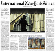 "THE INTERNATIONAL NEW YORK TIMES. A1. ""Chavez's Rivals Borrow Populist Tactics"". By Nicholas Casey. January 27, 2016"