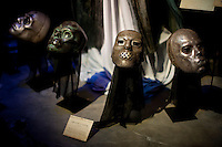 "Death Eaters masks at the ""Harry Potter"" exhibition at Discovery Times in New York. ..Photo by Robert Caplin."