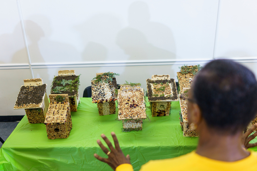 Upper Marlboro, Maryland - January 03, 2017: Judy French checks out the birdhouses made by her fellow Senior Green Team members before judges cast their ballots for top birdhouses at the Watkins Park Nature Center in Upper Marlboro, Md., Tuesday January 3, 2017. The group meets the first Tuesday morning of each month and works on nature beautification projects like trail maintenance, tree planting, clean ups, and, educational outings. <br /> <br /> CREDIT: Matt Roth