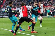 ROTTERDAM - Feyenoord - PSV , Voetbal , Eredivisie , Seizoen 2016/2017 , De Kuip , 26-02-2017 ,  PSV speler Bart Ramselaar (r) in duel met Feyenoord speler Eric Botteghin (m)