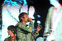 WESTON PARK, UK:.Ian Brown of The Stone Roses on stage with guitarist John Squire at the V Festival on Sunday 19th August 2012..PHOTOGRAPH BY TERRY KANE / BARCROFT MEDIA LTD..UK Office, London..T: +44 845 370 2233.E: pictures@barcroftmedia.com.W: www.barcroftmedia.com..Australasian & Pacific Rim Office, Melbourne..E: info@barcroftpacific.com.T: +613 9510 3188 or +613 9510 0688.W: www.barcroftpacific.com..Indian Office, Delhi..T: +91 997 1133 889.W: www.barcroftindia.com