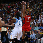 Washington Mystics Center Kia Vaughn (9), right, attempts the outside jumper as Chicago Sky Forward Destiny Williams (5) defends in the second half of an WNBA preseason basketball game between the Chicago Sky and the Washington Mystics Tuesday, May. 13, 2014 at The Bob Carpenter Sports Convocation Center in Newark, DEL