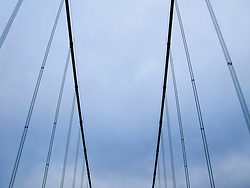 Looking up at bridge suspension cables of the westbound (older) Tacoma Narrows Bridge, Tacoma, Washington, USA
