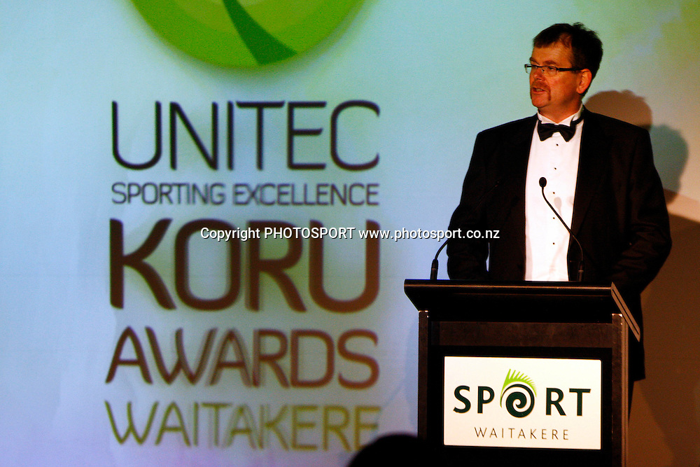 CEO Unitec NZ, Dr Rick Ede, Unitec, Waitakere Sporting Excellence, Koru Awards. Genesis Lounge, Trusts Stadium, Waitakere City, Auckland, 27 November 2009. Photo: William Booth/PHOTOSPORT