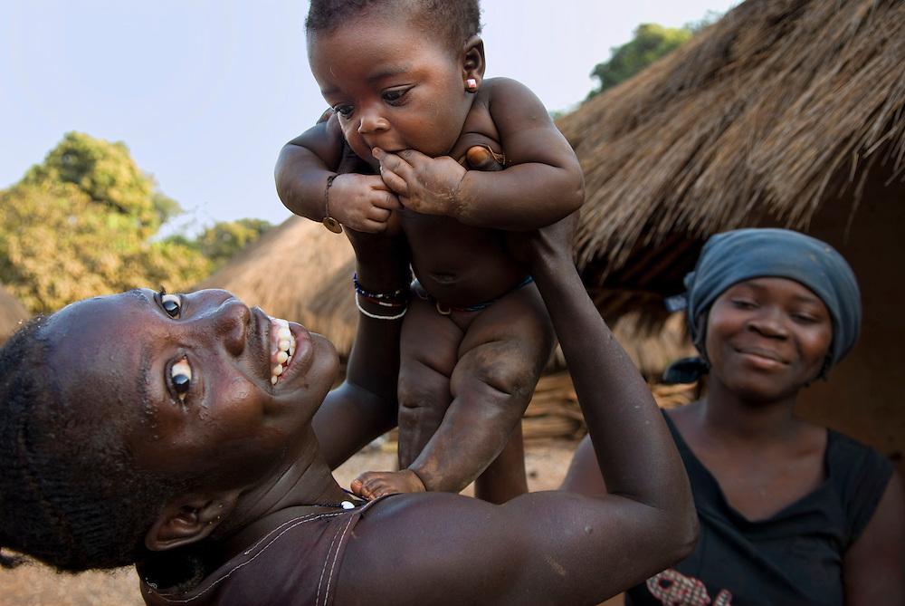 Bijagos Islands in Guinea Bissau, a newborn in a village.