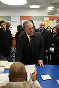 November 6, 2012- New York, NY:  New York City Mayor Michael Bloomberg votes in General Election at P.S. 6 in Manhattan's Eastside on November 6, 2012 in New York City. New York City Mayor Michael Bloomberg has endorsed President Barack Obama for a second term, citing his record on climate change, particularly in the aftermath of the devastating blow dealt to the New York area by Superstorm Sandy.(Terrence Jennings) .