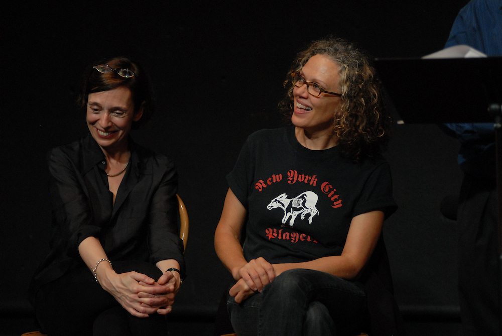 Photo shows Frances Coady (left) Kate Valk ..An evening of readings with Peter Carey Booker Prize novelist at at The Performing Garage. 33 Wooster Street, Manhattan.Readings were performed by Wallace Shawn, Scott Shepherd, Maura Tierney, and students from Still Waters in a Storm. Selections from Mr. Carey's work were read, including a preview of his new novel..Hosted by Kate Valk of The Wooster Group and Frances Coady, publisher of Picador U.S.A. All proceeds benefited 'Still Waters in a Storm' A reading and writing sanctuary for children in Bushwick, Brooklyn.