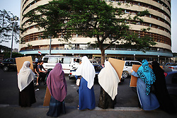 Women campaign for Mohamed Morsi in downtown Cairo ahead of Egypt's presidential poll.