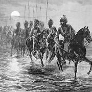 British led Indian cavalry in Afghanistan. 1879 British Afghan War. The Eleventh Bengal Lancers crossing the Kunar River. Harper's Weekly 1879