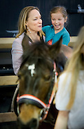 AMSTERDAM - 31-1-2016 - Princess Margarita de Bourbon de Parme and Tjalling ten Cate and Julia (l)  en Paola right  . during Jumping Amsterdam, an international equestrian event with World Cup dressage and jumping competitions, in the RAI in Amsterdam.  copyright robin utrecht <br /> Prinses Margarita de Bourbon de Parme en Tjalling ten Cate en Julia (l) en Paola rechts. tijdens Jumping Amsterdam, een internationale hippische evenement met World Cup dressuur en springen wedstrijden, in de RAI in Amsterdam. tijdens de kinderochtend