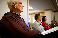 The Rev. Kermit Bostelman, pastor of Zion Lutheran Church, Anderson, Texas, listens as the Rev. Michael Salemink, executive director of Lutherans For Life, leads a sectional during the 2017 LCMS Life Conference on Saturday, Jan. 28, 2017, in Arlington, Va. LCMS Communications/Erik M. Lunsford