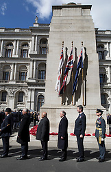 © Licensed to London News Pictures. 25/04/2017. London, UK. Commander Sir Tim Laurence (2L) attends the ANZAC ceremony at the Cenotaph in Whitehall. A dawn ceremony and service was held at The Australian War Memorial and The New Zealand War Memorial at Hyde Park Corner.  April 25th is the day that Australia and New Zealand remember the dead of all wars. Photo credit: Peter Macdiarmid/LNP