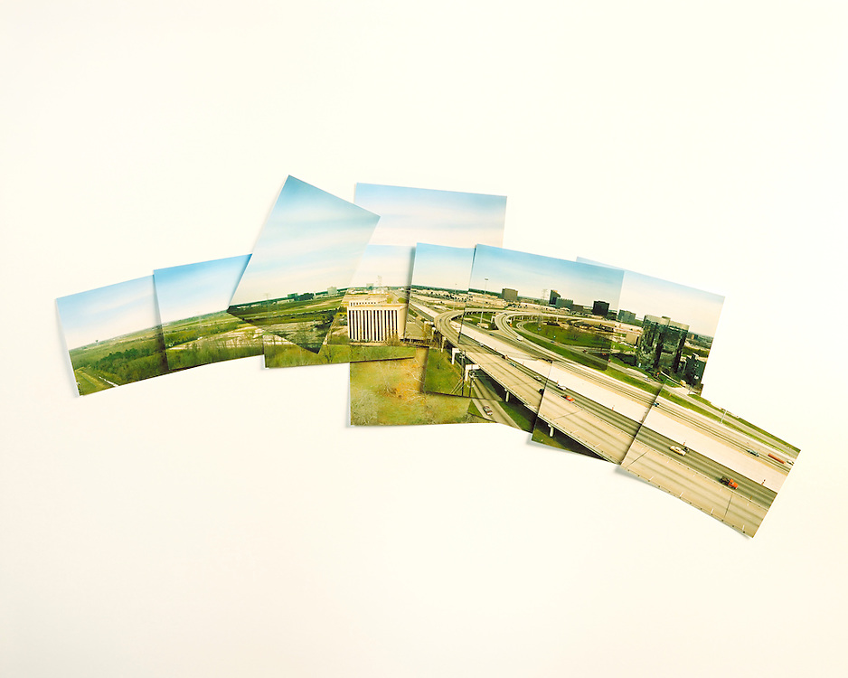 Panoramic shot assembled from single images from a rooftop next to the I 45 Freeway in Houston, Texas towards Greenspoint, housing, hotels, shopping retail, development, etc. The images were used to illustrate the amenities of the Greenspoint area.