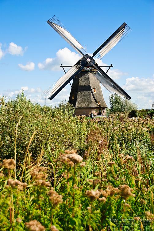 Traditional Dutch Windmills at UNESCO World Heritage site, Kinderdijk, The Netherlands.