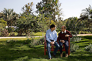 Helmy Abouleish, (l) Managing Director of the leading Egyptian Organic foods and products producer, Sekem Group, talks with his father and Sekem founder, Dr. Ibrahim Abouleish, on the lush grounds of the Sekem farm Nov 4, 2008 in Belbeis, Egypt. Dr. Ibrahim Abouleish founded the project in 1977 on what was then barren desert, and since has grown it into a lush oasis ecompassing several farms, production plants, schools and even a local medical facility.