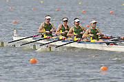 Brandenburg, GERMANY, AUS BLM4X,  Bow, Alister FOOT, Thomas BERTRAND, Will BREIIER and Angus TYERS, move away from the start,  at the 2008 FISA U23 World Rowing Championships, {idow], {date}, [Mandatory credit: Peter Spurrier Intersport Images].. Rowing Course: Brandenburg, Havel Rowing Course, Brandenburg, GERMANY