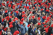 The Ole Miss student section cheers vs. Arkansas at Vaught-Hemingway Stadium in Oxford, Miss. on Saturday, November 9, 2013. Mississippi won 34-24. (AP Photo/Oxford Eagle, Bruce Newman)